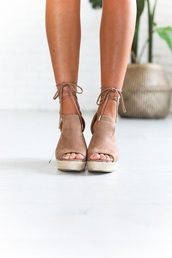 shoes,tan wedges,nude wedges,espadrille wedges,spring,wedges,heels,taupe,suede,tie