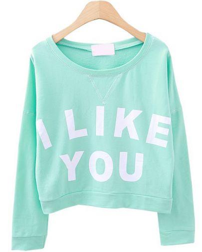 Green Long Sleeve I LIKE YOU Print Crop Sweatshirt - Sheinside.com