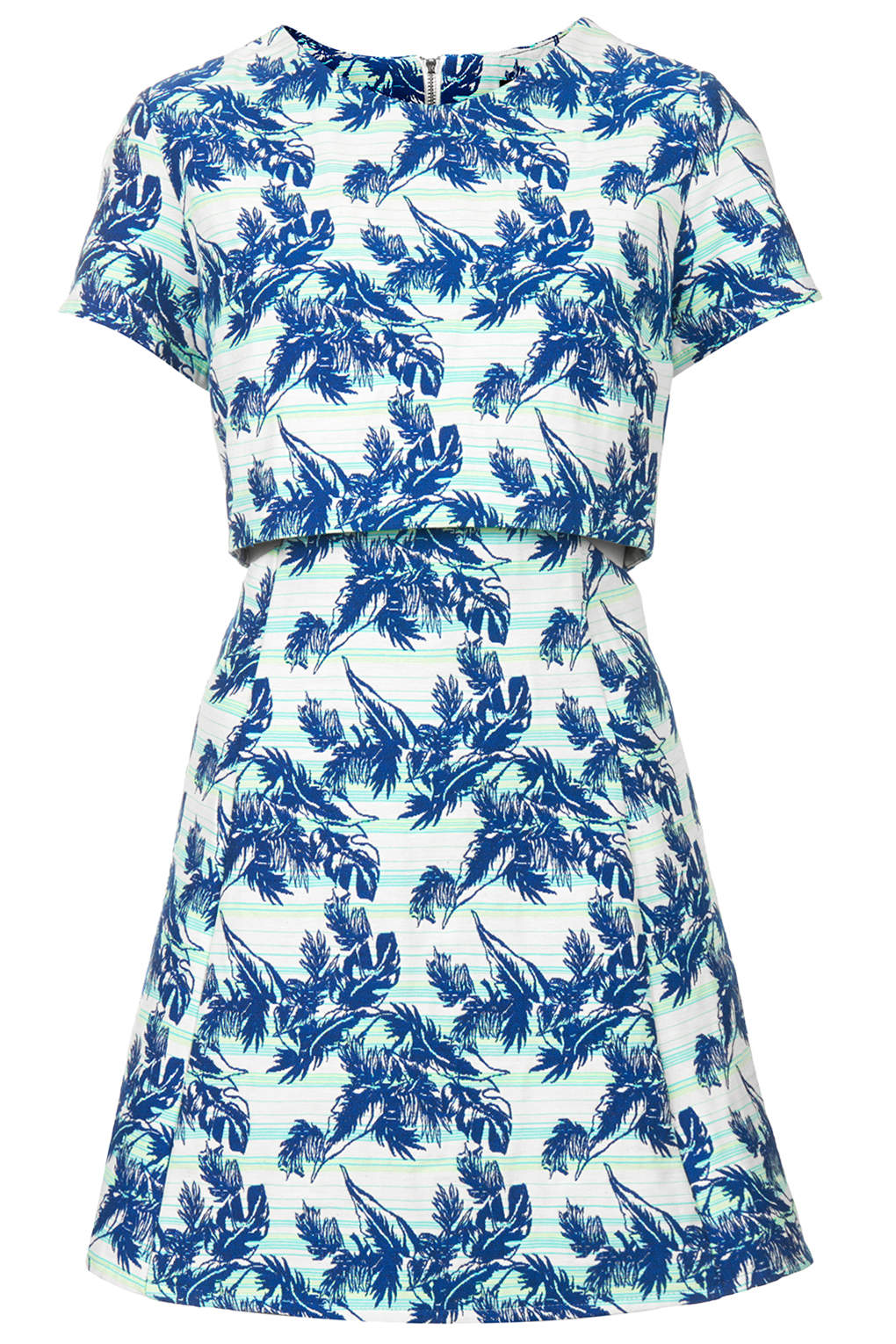 Tropical Leaf Print Crop Overlay Dress