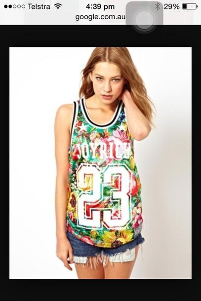 shirt floral basketball