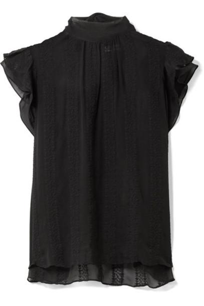 Ulla Johnson top embroidered black silk