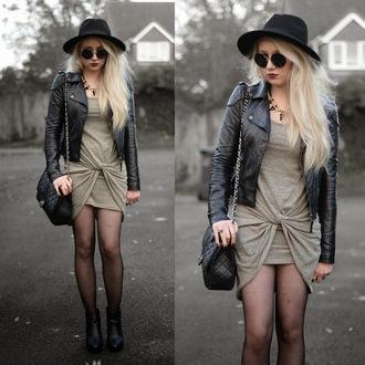 jacket soft grunge jewels sunglasses dress bag sammi jackson blogger tights rock hat perfecto draped quilted