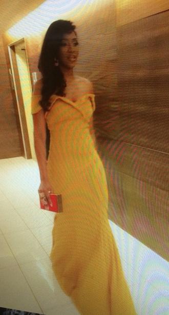 dress mustard dress gown