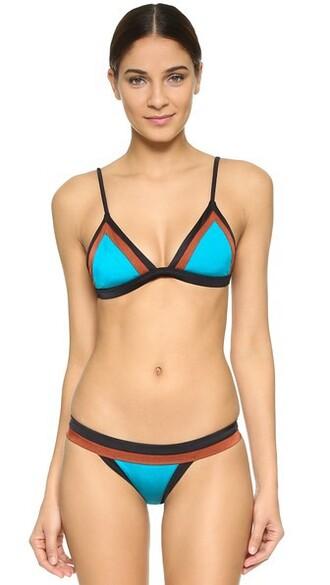 bikini bikini top colorblock aqua swimwear
