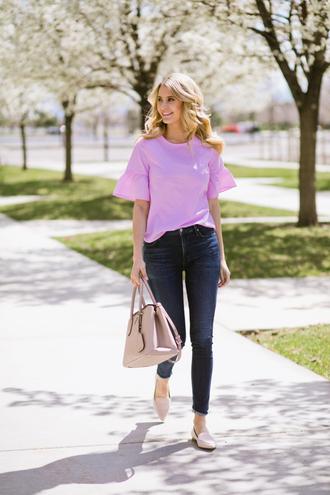 t-shirt ruffle sleeves denim jeans skinny jeans handbag loafers blogger blogger style