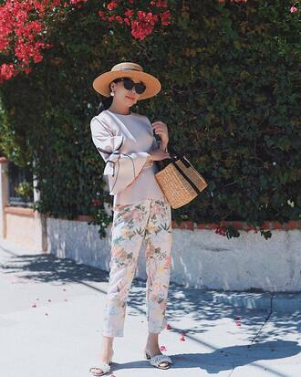 top hat sun hat floral pants sunglasses slide shoes tumblr nude top bell sleeves bag woven bag pants floral shoes work outfits office outfits