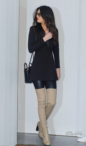 thigh high boots kendall jenner classy sunglasses
