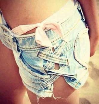 shorts bow jeans cute fashion statement hot hollister denim shorts summer summer shorts side slit heart bottom short shorts beach shorts denim summer outfits criss cross