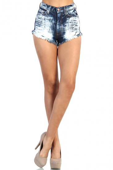 LoveMelrose.com From Harry & Molly | Potassium Wash High Waist Jean Shorts