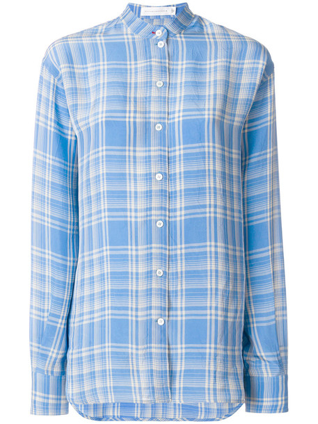 Victoria Beckham shirt checked shirt women blue top