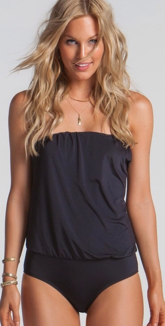 swimwear black strapless one piece swimsuit