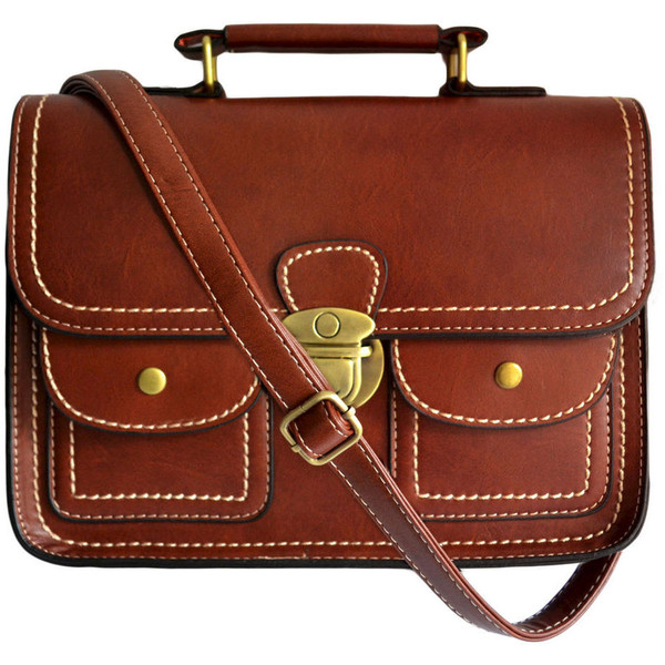 VINTAGE DOUBLE POCKET SATCHEL BAG - Polyvore