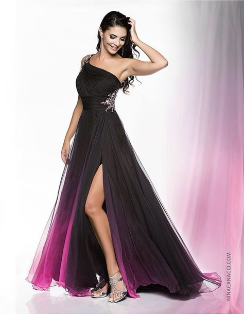 d050c6e155f56 dress prom dress black dress long dress ombre dress pink dress one shoulder  formal gown