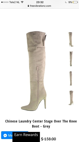 shoes over the knee boots grey suede heels high heels free vibrationz