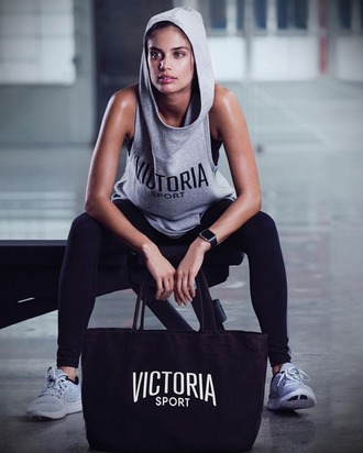 top sara sampaio model victoria's secret victoria's secret model hoodie sportswear sleeveless grey hoodie workout gym gym clothes black leggings