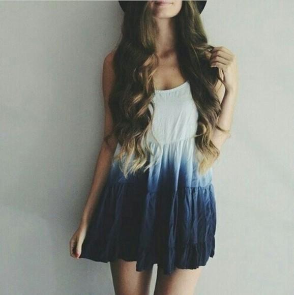dress blue and white dress vintage dress