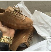 shoes,puma,creepers,brown,beige,sneakers,tan,light,fenty,new