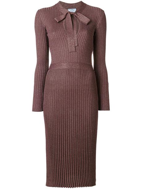 Prada dress bow dress bow metal women purple pink