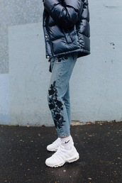 jeans,socks,tumblr,denim,blue jeans,embroidered,embroidered jeans,sneakers,white sneakers,nike,jacket,black jacket,down jacket