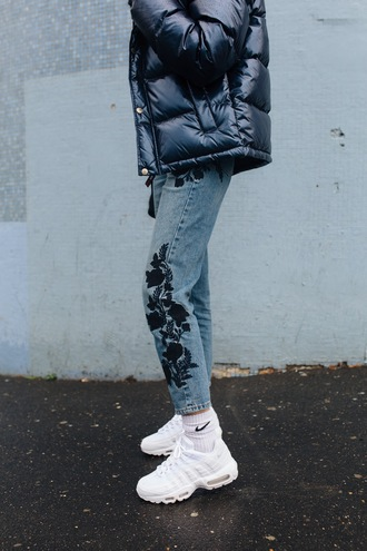 jeans socks tumblr denim blue jeans embroidered embroidered jeans sneakers white sneakers nike jacket black jacket down jacket