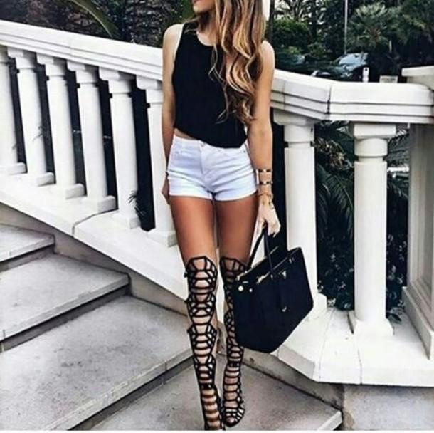 1283ece5a317 shoes gladiators high heels sandals high heel sandals knee high gladiator  sandals black