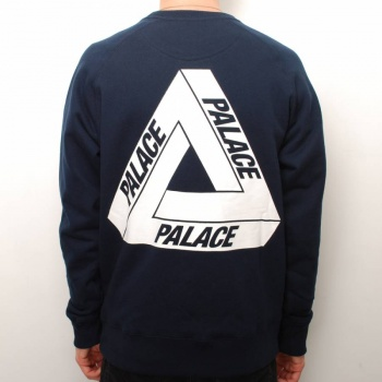 Palace Skateboards Palace Fleece Crew Sweater - Navy - Palace Skateboards from Native Skate Store UK