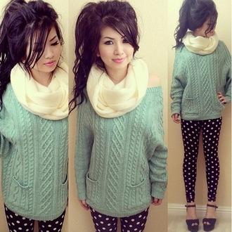 sweater blue sweater blue scarf