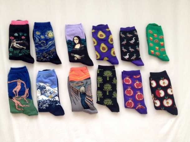 socks famous art art cute michael angelo artsy artist arty painting painting painting colorful splatter graphic tee fall outfits sushi food fruits detox pictures grunge tumblr sweet sexy blue purple black white green red vincent van gogh style pop art mona lisa printed socks
