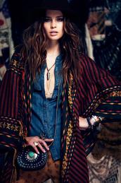 jacket,hippie,boho,colorful,bag,sweater,bohemian,hipster,soft grunge,grunge,kimono,boho kimono,fedora,ring,necklace,chambray shirt,chambray,blouse