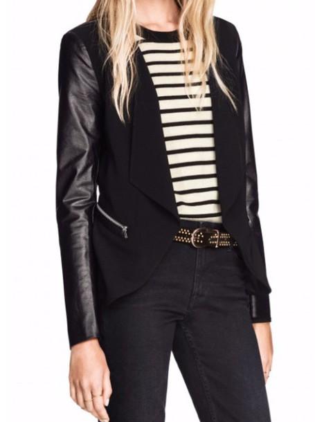 coat black leather blazer blazer