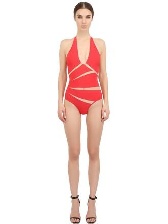 one piece swimsuit red swimwear