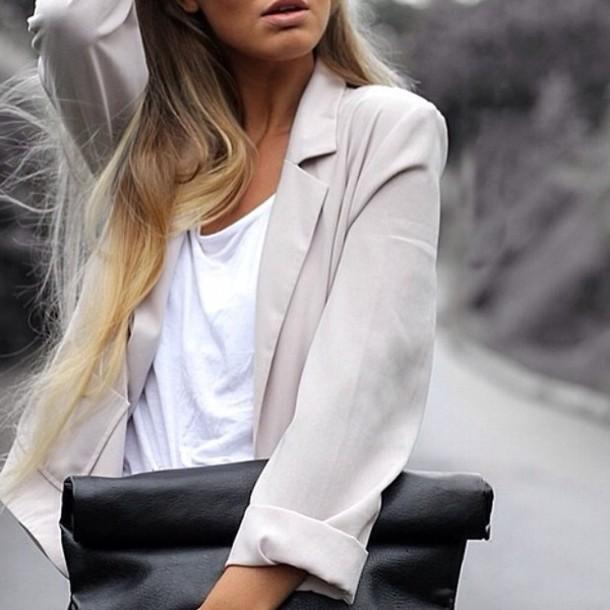 jacket blazer classy beige nude thin