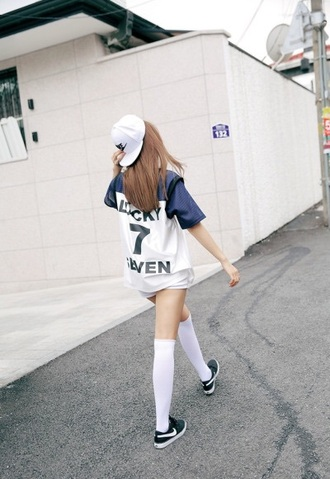 shirt asia asian blue white top t-shirt cute aesthetic tumblr instagram kfashion korean fashion japan baseball sportswear