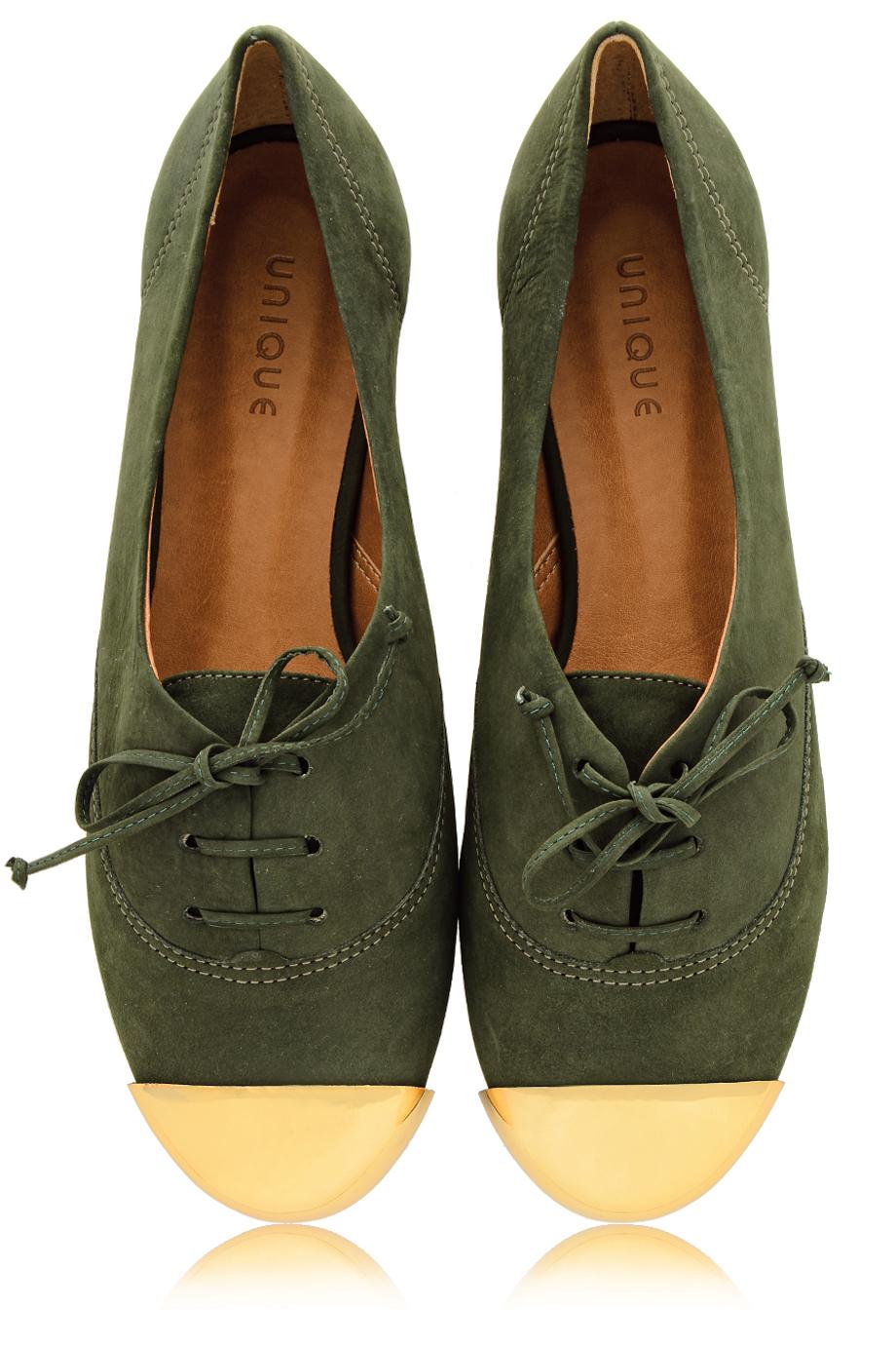 MISS UNIQUE ESTER Olive Lace Up Flats - SHOES | FLATS | Lace Ups | PRET-A-BEAUTE.COM