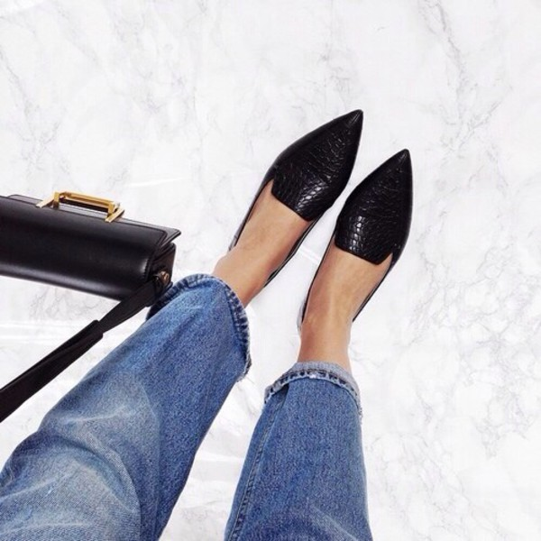 black shoes black black shoes flat pointed flats shoes pointedflatshoes sparkle pointed flats pointed toe ballet flats snake skin shoes black grunge flat