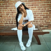 socks,kat graham,overknee socks,shirt,kayla phillips,hat,all white everything,badass,jesus piece,gold watch,nike air force 1 high top,model,status,thug life,on fleek,jewels,nail polish,bucket hat,white shirt