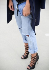 shoes,jeans,black,high heels,sandals,heels,zara shoes,lace up heels,high heel sandals,zara,black sandals,boyfriend jeans,blue jeans,ripped jeans,clutch,blue clutch