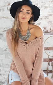 sweater,v neck,knitted sweater,beige,comfy,long sleeves,criss cross tie up