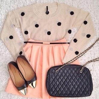 sweater skirt polka dots peach flats shoes bag black bag black leather bag black and gold bag