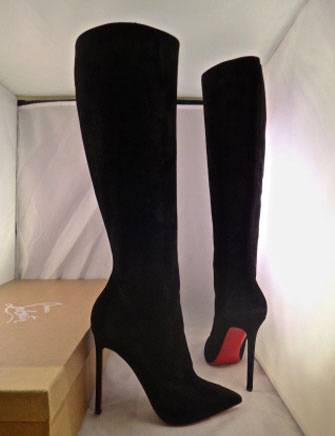 Christian Louboutin Pigalle Botta 120 Veau Velour Knee High Boots