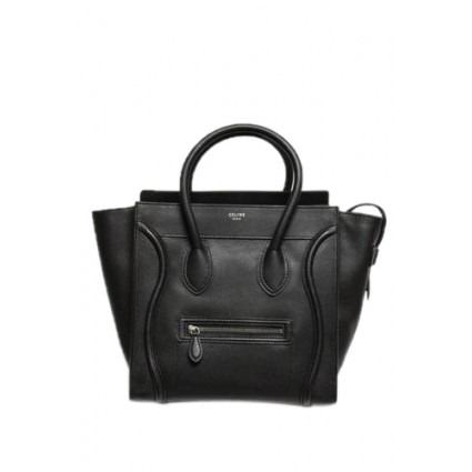 Celine Black Pebbled Leather Mini Luggage Tote Bag | Portero Luxury