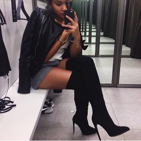 Suede Heel Boots Black Knee High Boots High Knee Boots