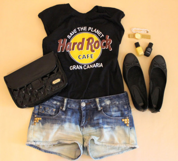 Shorts Hard Rock Cafe Rock Dip Dyed T Shirt T Shirt Shirt Top Studs Denim Acid Wash T Shirt Wheretoget