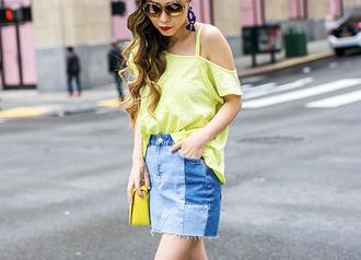 t-shirt denim skirt patchwork denim cut-out t-shirt sunglasses clutch earrings blogger blogger style