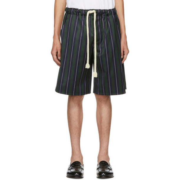 Loewe Navy & Green Striped Shorts