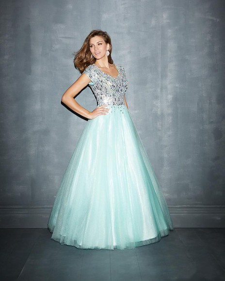 tulle beading a-line scoop floor prom dress