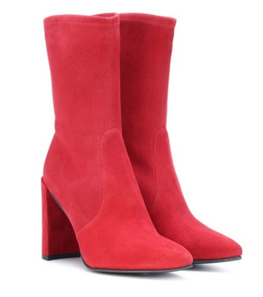 Stuart Weitzman Clinger suede ankle boots in red