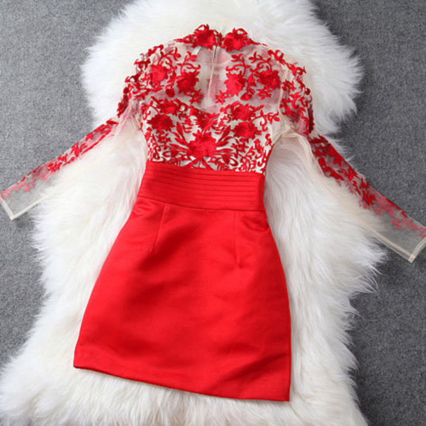 dress fashion clothes red dress mesh dress lace dress bodycon dress