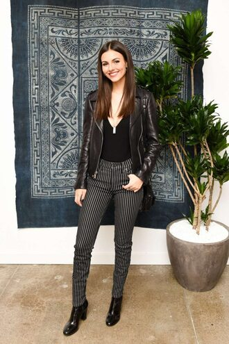 pants jacket victoria justice fall outfits top bodysuit