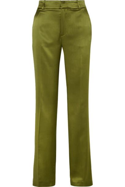 Joseph pants wide-leg pants silk green satin